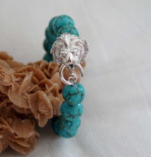 Bracelet Howlite Tête De Lion