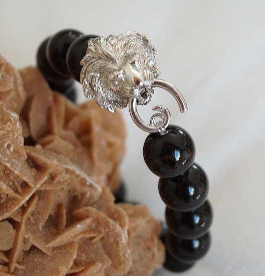 Bracelet Onyx Tête De Lion
