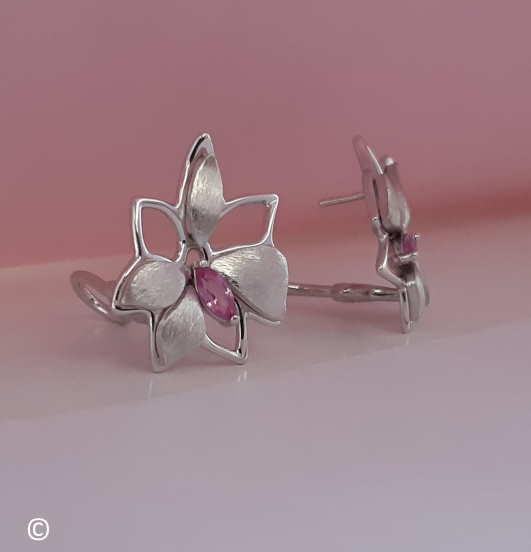 Boucles D'oreilles Petite Fleur Saphir Rose