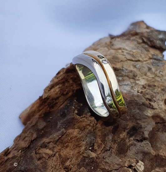 Alliance Modèle «Salva Fine» 2 Ors Et Diamants