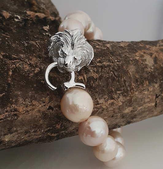 Bracelet Nacre Rose Tête De Lion