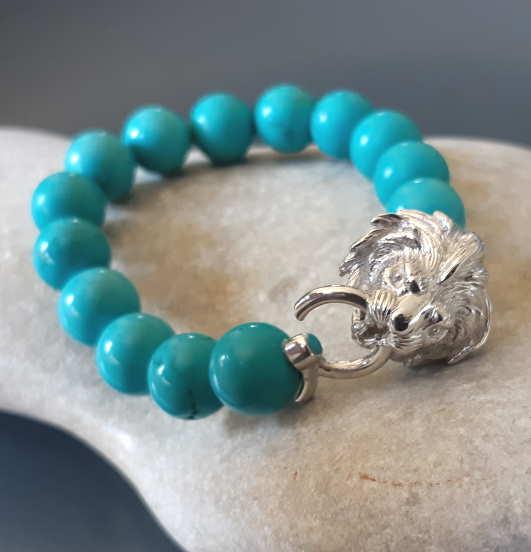 Bracelet Turquoise Tête De Lion