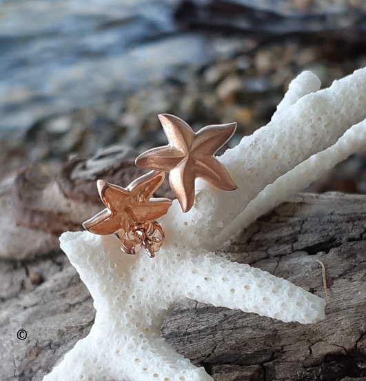 Boucles D'oreilles étoile De Mer Plaqué Or Rose